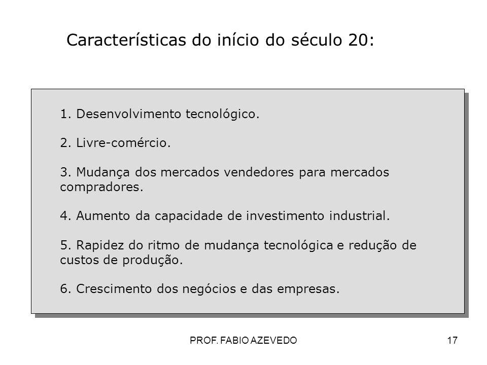 17 Características do início do século 20: 1. Desenvolvimento tecnológico. 2. Livre-comércio. 3. Mudança dos mercados vendedores para mercados comprad