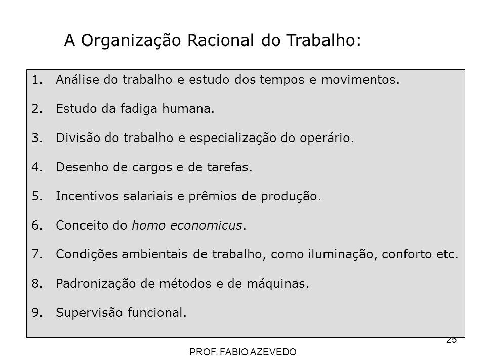 25 A Organização Racional do Trabalho: 1.Análise do trabalho e estudo dos tempos e movimentos. 2.Estudo da fadiga humana. 3.Divisão do trabalho e espe