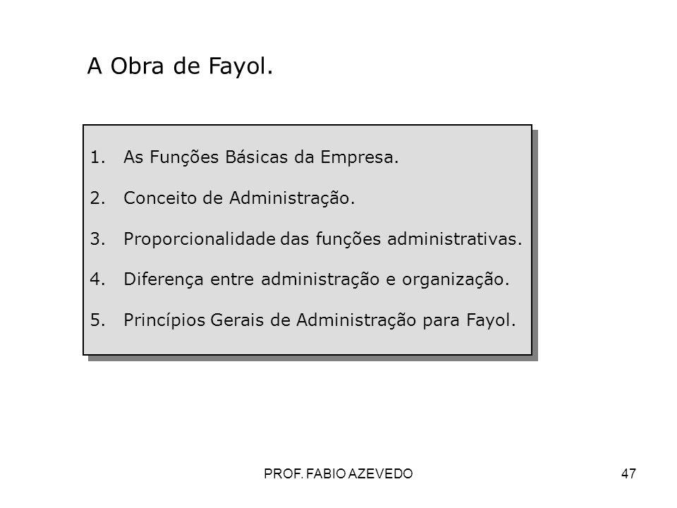 47 1.As Funções Básicas da Empresa. 2.Conceito de Administração. 3.Proporcionalidade das funções administrativas. 4.Diferença entre administração e or