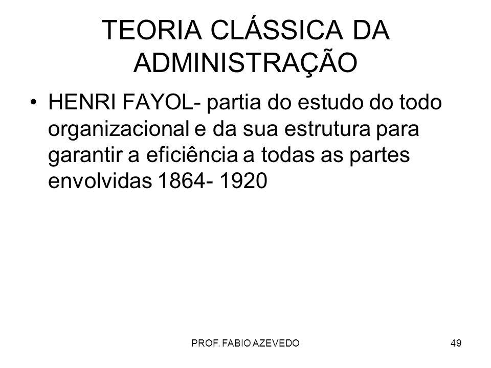 49 TEORIA CLÁSSICA DA ADMINISTRAÇÃO HENRI FAYOL- partia do estudo do todo organizacional e da sua estrutura para garantir a eficiência a todas as part
