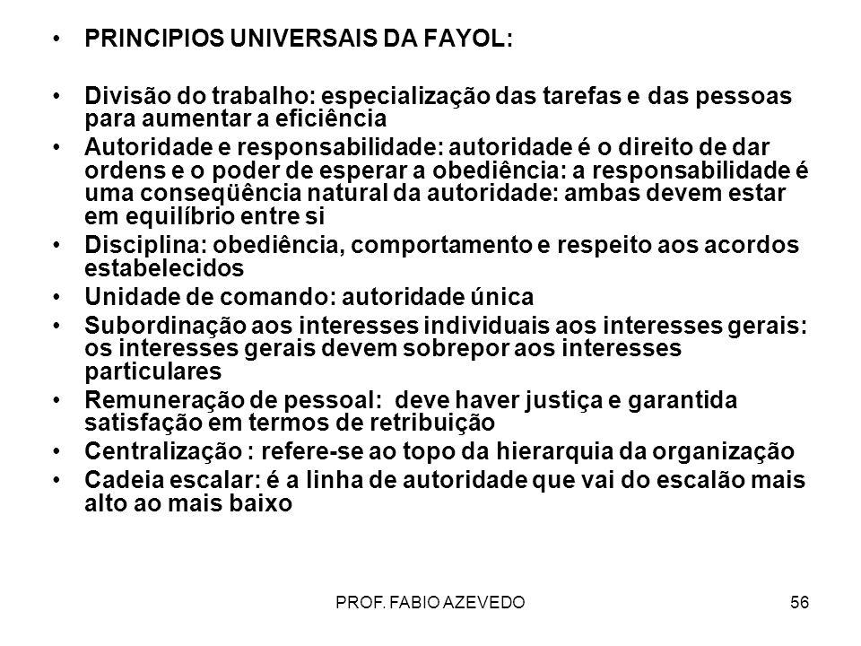 56 PRINCIPIOS UNIVERSAIS DA FAYOL: Divisão do trabalho: especialização das tarefas e das pessoas para aumentar a eficiência Autoridade e responsabilid
