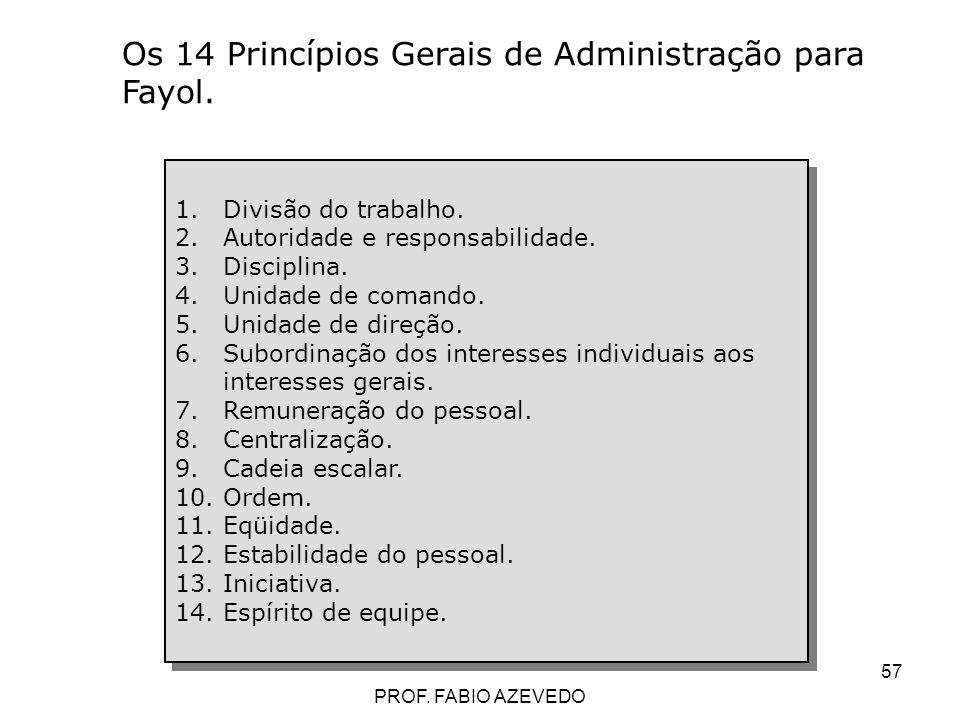57 1.Divisão do trabalho. 2.Autoridade e responsabilidade. 3.Disciplina. 4.Unidade de comando. 5.Unidade de direção. 6.Subordinação dos interesses ind