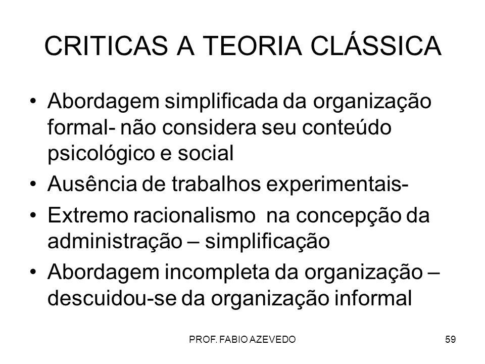 59 CRITICAS A TEORIA CLÁSSICA Abordagem simplificada da organização formal- não considera seu conteúdo psicológico e social Ausência de trabalhos expe
