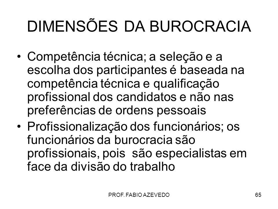 65 DIMENSÕES DA BUROCRACIA Competência técnica; a seleção e a escolha dos participantes é baseada na competência técnica e qualificação profissional d