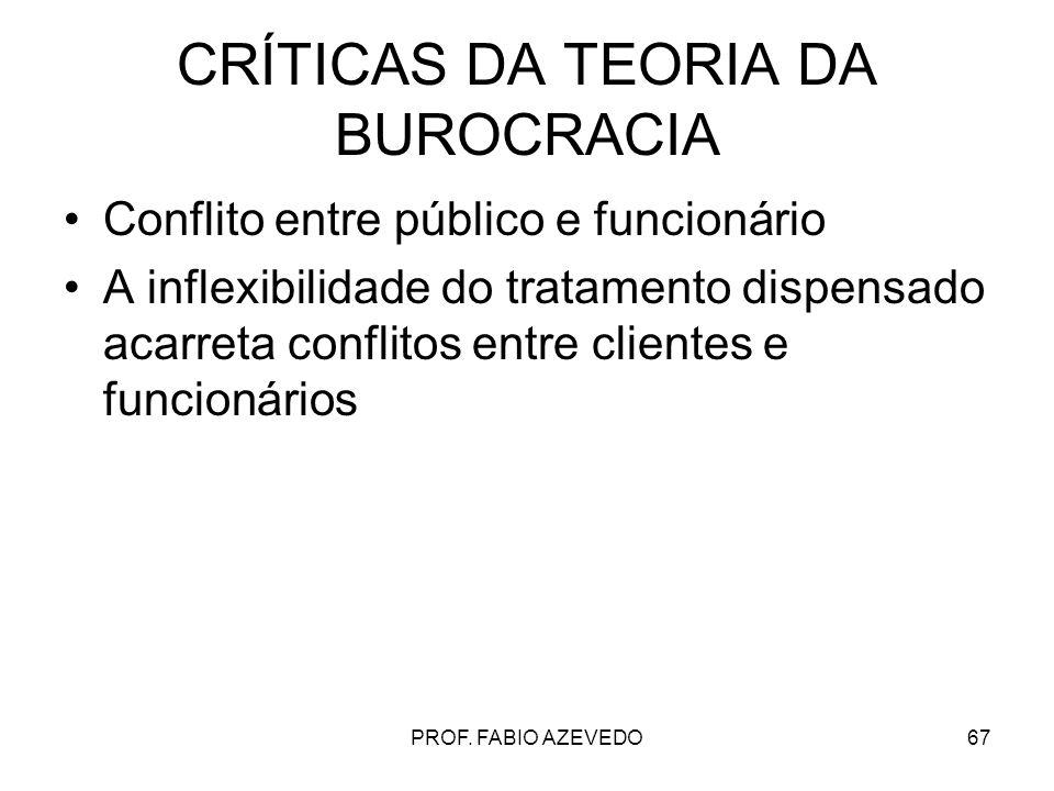 67 CRÍTICAS DA TEORIA DA BUROCRACIA Conflito entre público e funcionário A inflexibilidade do tratamento dispensado acarreta conflitos entre clientes