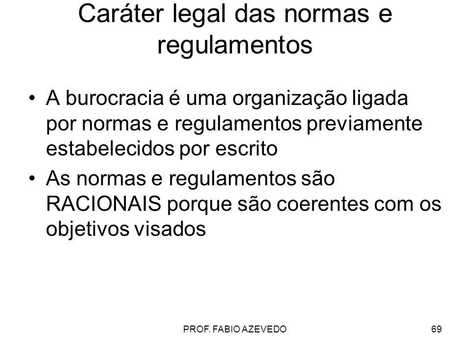 69 Caráter legal das normas e regulamentos A burocracia é uma organização ligada por normas e regulamentos previamente estabelecidos por escrito As no
