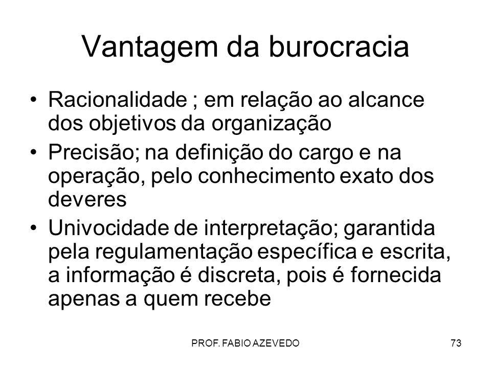 73 Vantagem da burocracia Racionalidade ; em relação ao alcance dos objetivos da organização Precisão; na definição do cargo e na operação, pelo conhe