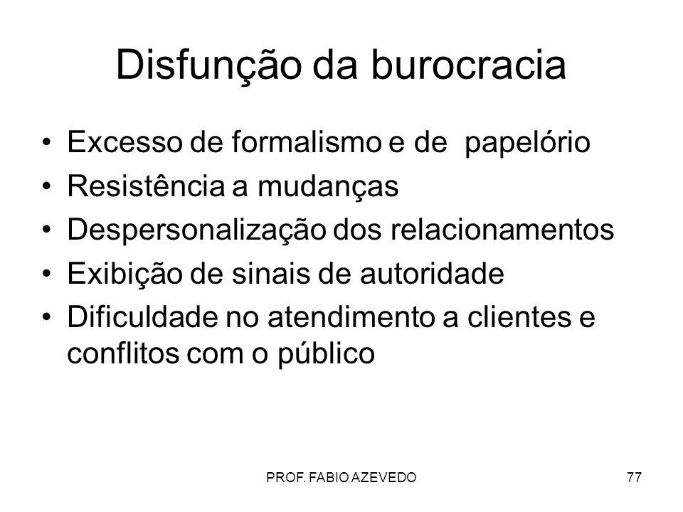 77 Disfunção da burocracia Excesso de formalismo e de papelório Resistência a mudanças Despersonalização dos relacionamentos Exibição de sinais de aut