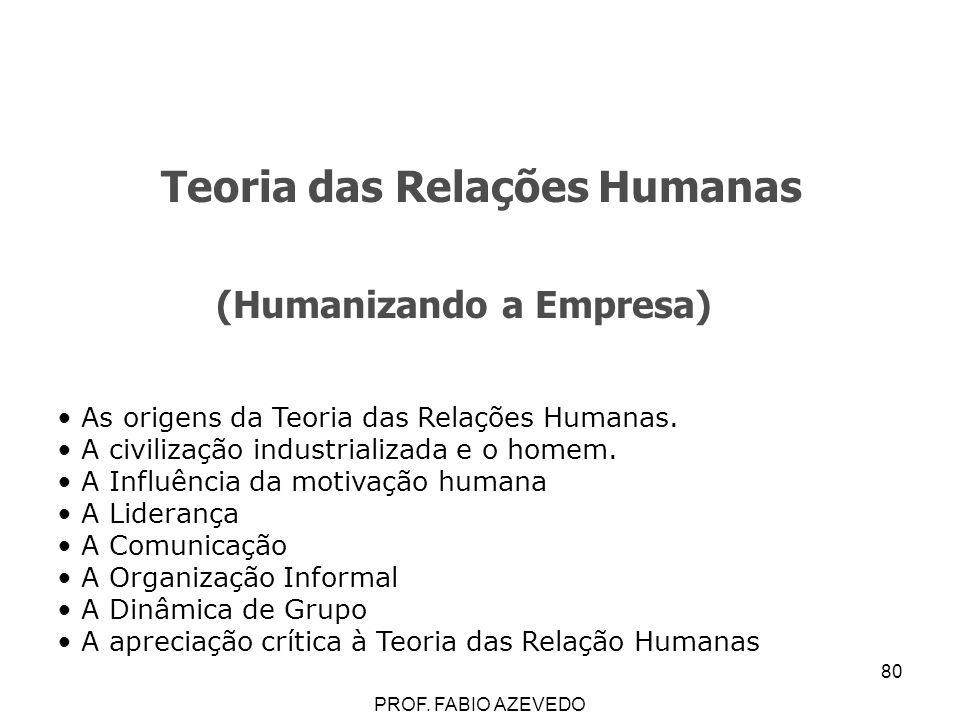 80 Teoria das Relações Humanas (Humanizando a Empresa) As origens da Teoria das Relações Humanas. A civilização industrializada e o homem. A Influênci