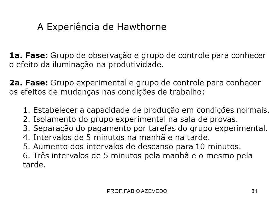 81 A Experiência de Hawthorne 1a. Fase: Grupo de observação e grupo de controle para conhecer o efeito da iluminação na produtividade. 2a. Fase: Grupo