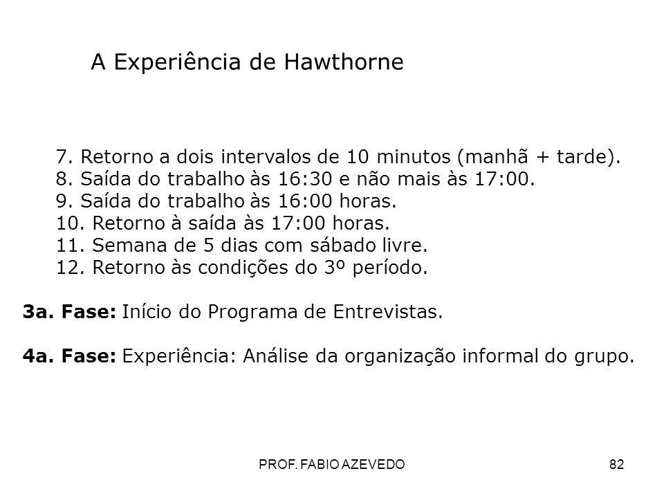 82 A Experiência de Hawthorne 7. Retorno a dois intervalos de 10 minutos (manhã + tarde). 8. Saída do trabalho às 16:30 e não mais às 17:00. 9. Saída