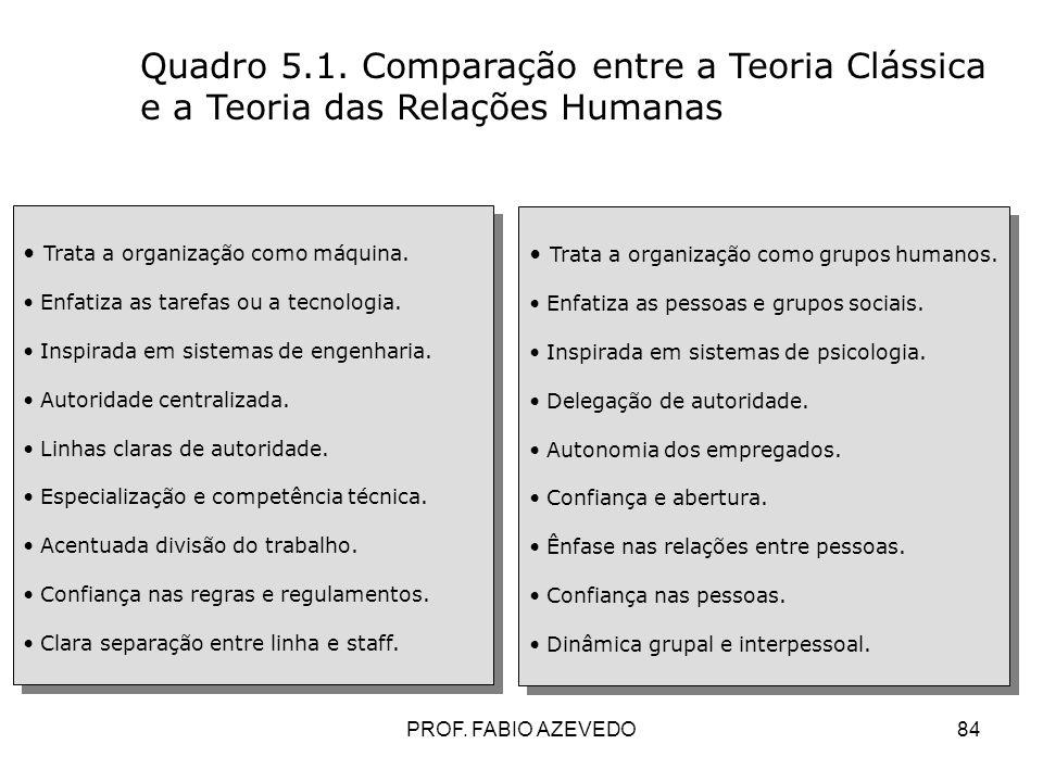 84 Quadro 5.1. Comparação entre a Teoria Clássica e a Teoria das Relações Humanas Trata a organização como máquina. Enfatiza as tarefas ou a tecnologi