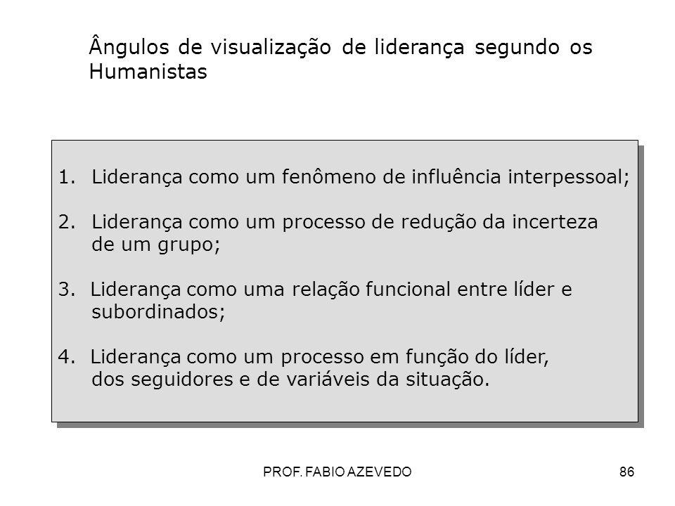 86 Ângulos de visualização de liderança segundo os Humanistas 1.Liderança como um fenômeno de influência interpessoal; 2.Liderança como um processo de