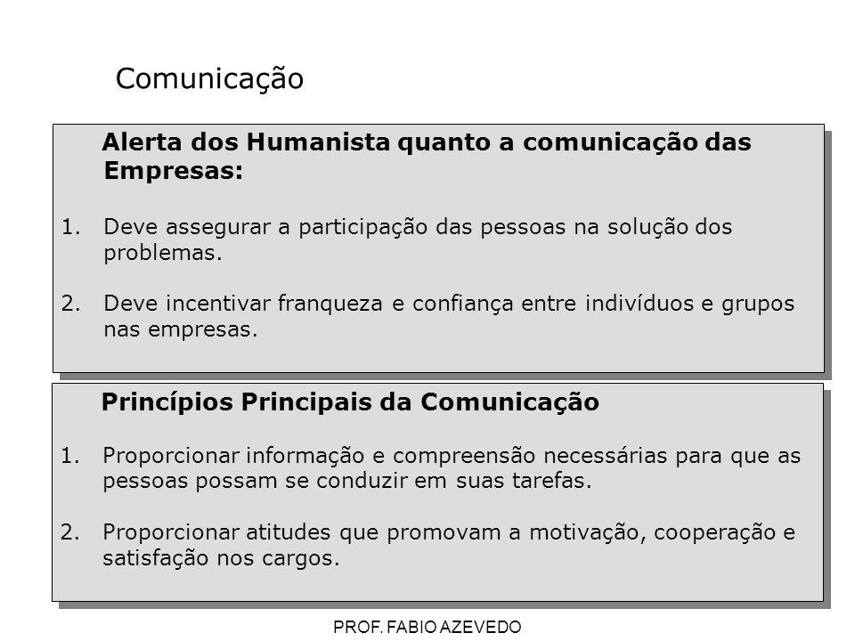 87 Alerta dos Humanista quanto a comunicação das Empresas: 1.Deve assegurar a participação das pessoas na solução dos problemas. 2.Deve incentivar fra