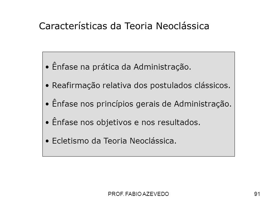91 Características da Teoria Neoclássica Ênfase na prática da Administração. Reafirmação relativa dos postulados clássicos. Ênfase nos princípios gera