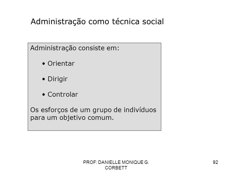 PROF: DANIELLE MONIQUE G. CORBETT 92 Administração como técnica social Administração consiste em: Orientar Dirigir Controlar Os esforços de um grupo d