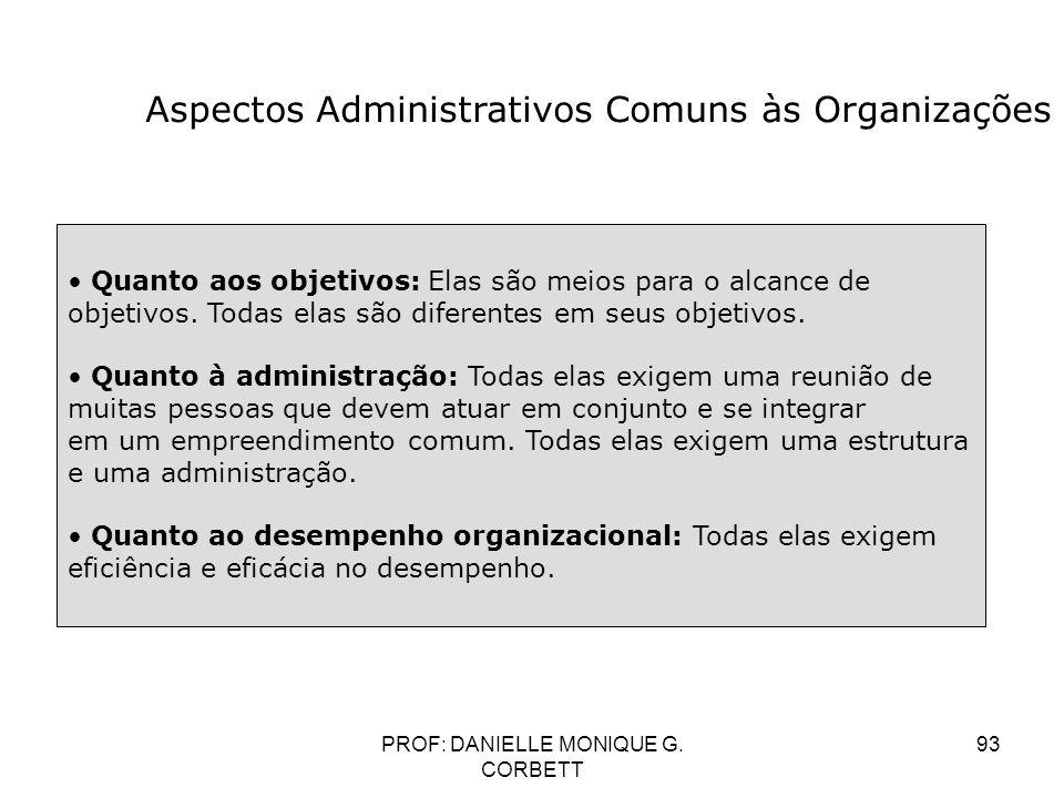 PROF: DANIELLE MONIQUE G. CORBETT 93 Aspectos Administrativos Comuns às Organizações Quanto aos objetivos: Elas são meios para o alcance de objetivos.