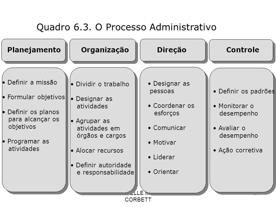 PROF: DANIELLE MONIQUE G. CORBETT 97 Quadro 6.3. O Processo Administrativo Planejamento Organização Direção Controle Definir a missão Formular objetiv