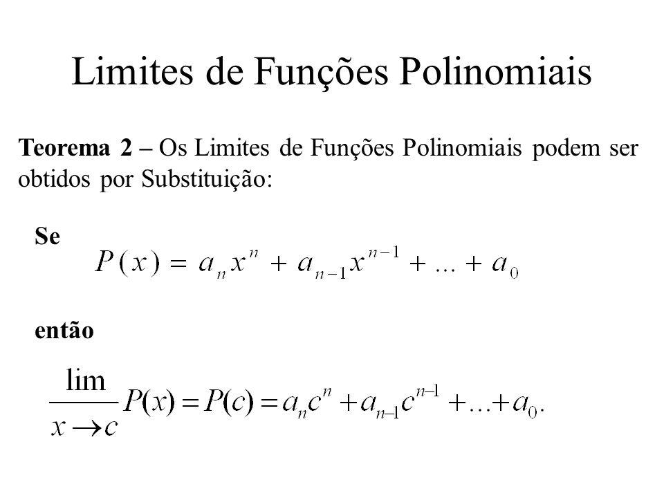Limites de Funções Polinomiais Teorema 2 – Os Limites de Funções Polinomiais podem ser obtidos por Substituição: Se então