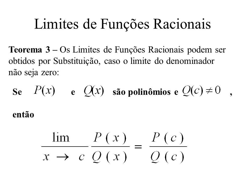 Limites de Funções Racionais Teorema 3 – Os Limites de Funções Racionais podem ser obtidos por Substituição, caso o limite do denominador não seja zer