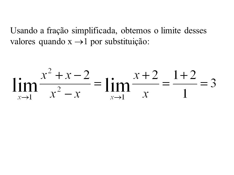 Usando a fração simplificada, obtemos o limite desses valores quando x 1 por substituição:
