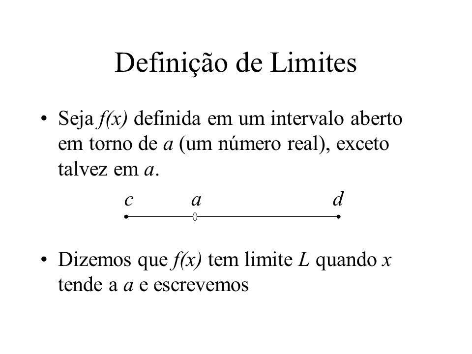 Definição de Limites Seja f(x) definida em um intervalo aberto em torno de a (um número real), exceto talvez em a. c a d Dizemos que f(x) tem limite L