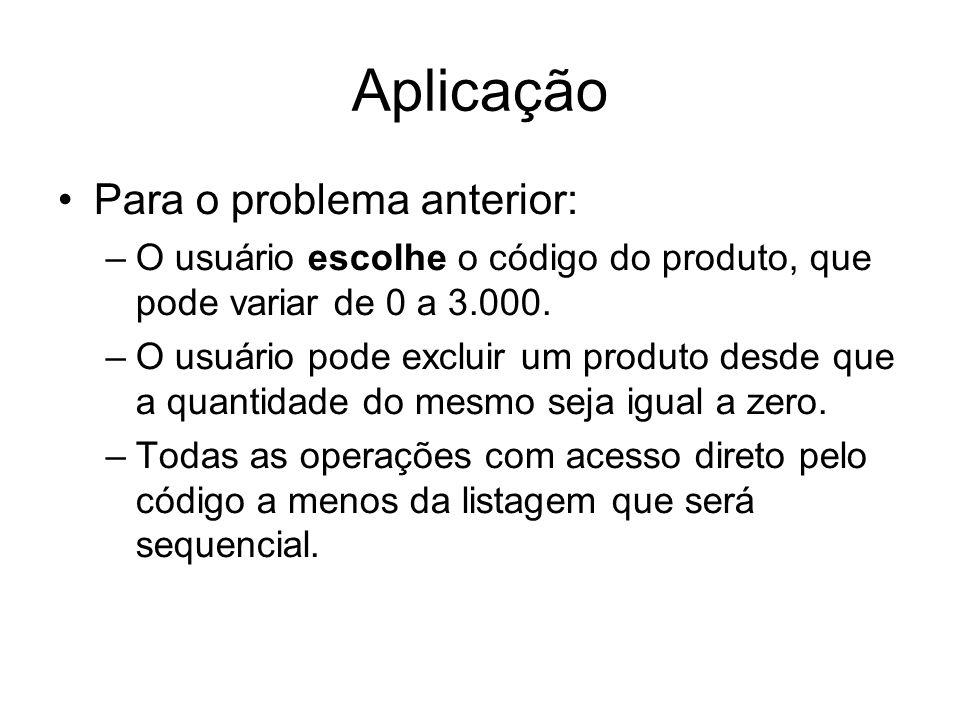Aplicação Para o problema anterior: –O usuário escolhe o código do produto, que pode variar de 0 a 3.000. –O usuário pode excluir um produto desde que