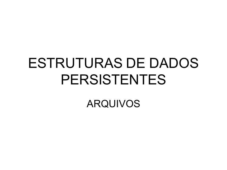 ESTRUTURAS DE DADOS PERSISTENTES ARQUIVOS