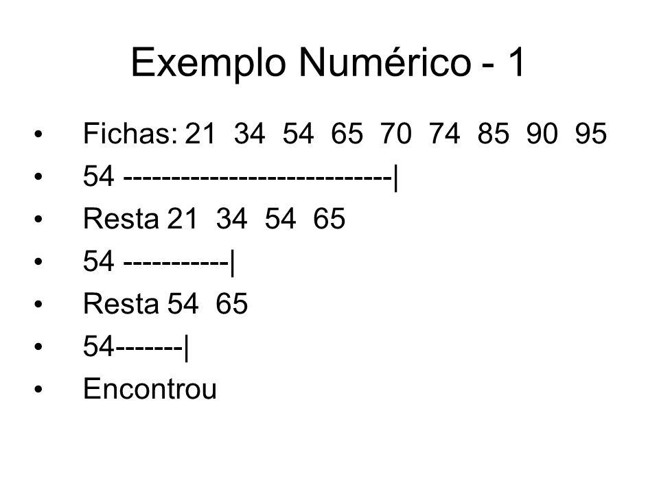 Exemplo Numérico - 1 Fichas: 21 34 54 65 70 74 85 90 95 54 ----------------------------| Resta 21 34 54 65 54 -----------| Resta 54 65 54-------| Enco