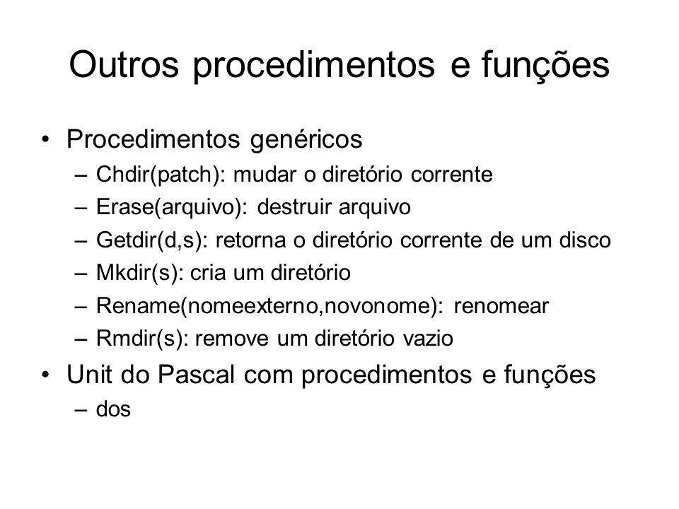 Outros procedimentos e funções Procedimentos genéricos –Chdir(patch): mudar o diretório corrente –Erase(arquivo): destruir arquivo –Getdir(d,s): retor