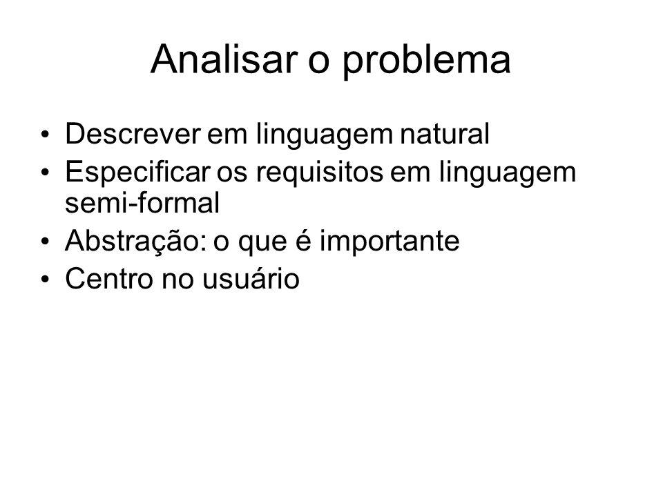 Analisar o problema Descrever em linguagem natural Especificar os requisitos em linguagem semi-formal Abstração: o que é importante Centro no usuário