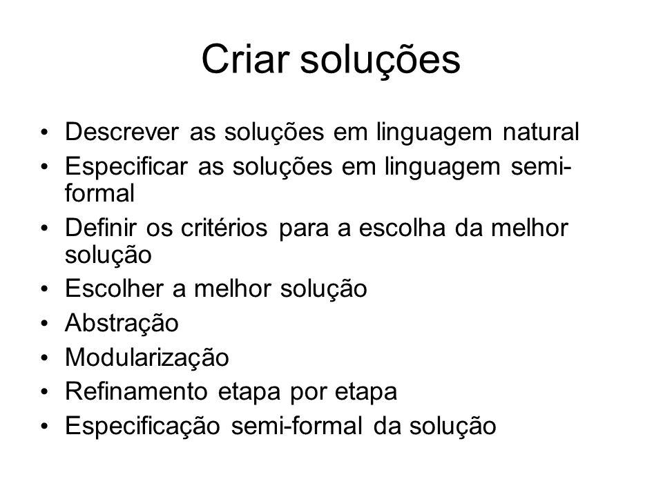 Criar soluções Descrever as soluções em linguagem natural Especificar as soluções em linguagem semi- formal Definir os critérios para a escolha da mel