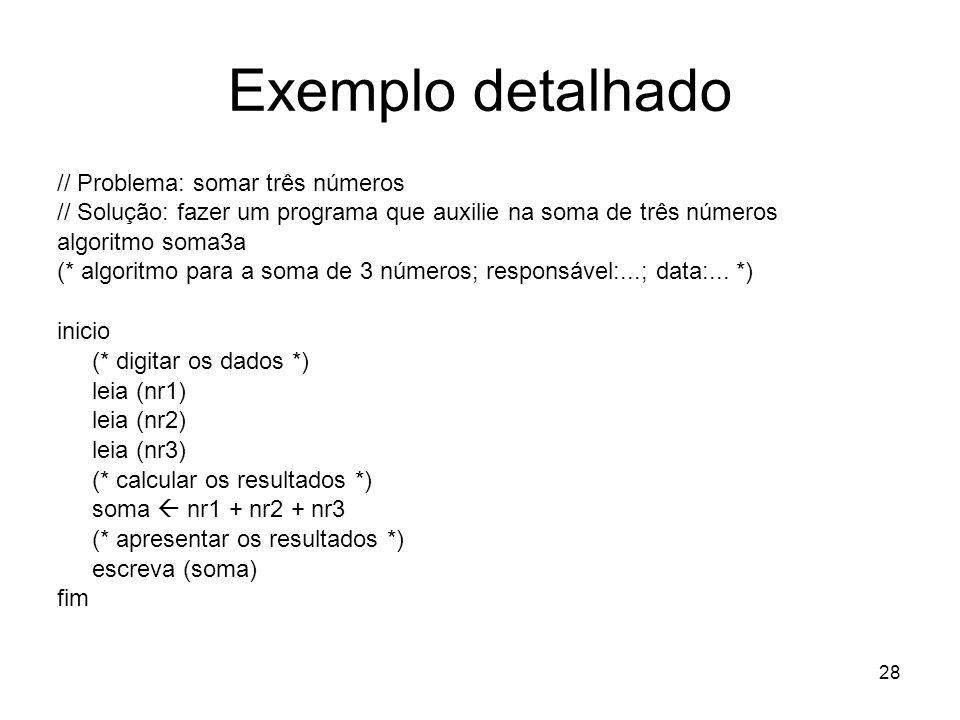 28 Exemplo detalhado // Problema: somar três números // Solução: fazer um programa que auxilie na soma de três números algoritmo soma3a (* algoritmo p