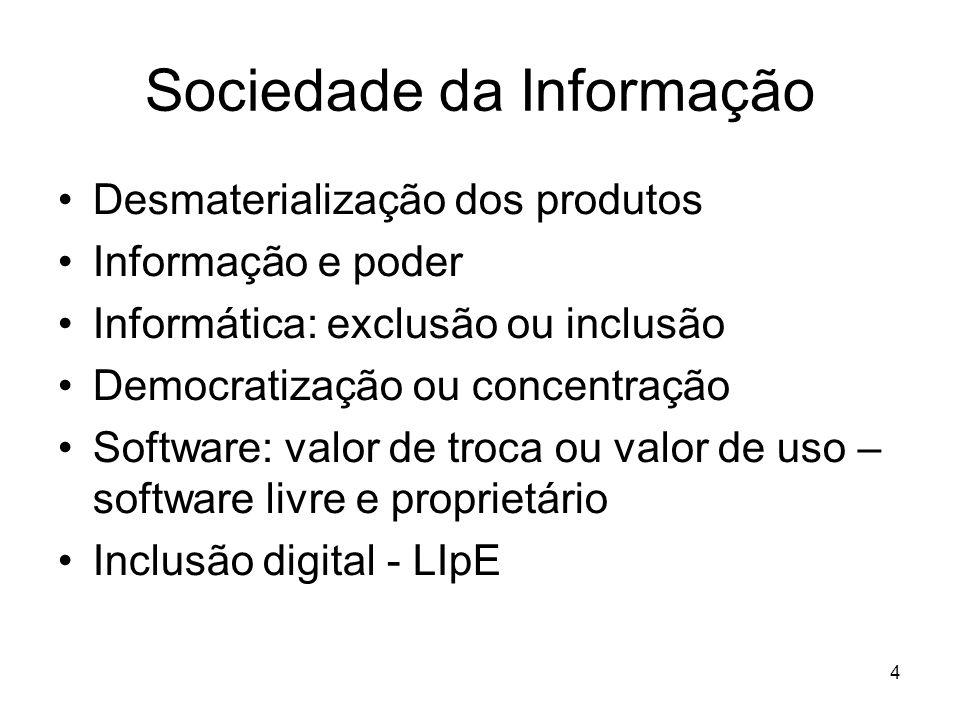 4 Sociedade da Informação Desmaterialização dos produtos Informação e poder Informática: exclusão ou inclusão Democratização ou concentração Software:
