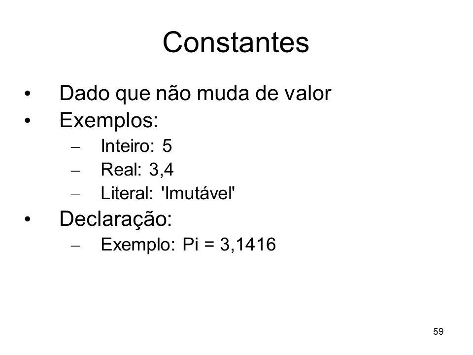 59 Constantes Dado que não muda de valor Exemplos: – Inteiro: 5 – Real: 3,4 – Literal: 'Imutável' Declaração: – Exemplo: Pi = 3,1416