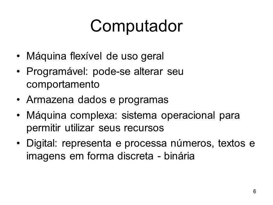 6 Computador Máquina flexível de uso geral Programável: pode-se alterar seu comportamento Armazena dados e programas Máquina complexa: sistema operaci