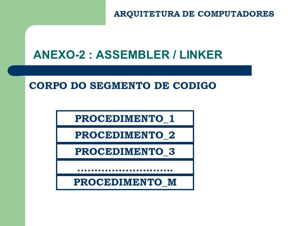 ANEXO-2 : ASSEMBLER / LINKER ARQUITETURA DE COMPUTADORES CORPO DO SEGMENTO DE CODIGO PROCEDIMENTO_1 PROCEDIMENTO_2 PROCEDIMENTO_3.....................