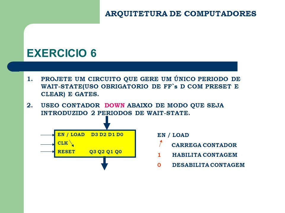 ARQUITETURA DE COMPUTADORES EXERCICIO 6 1.PROJETE UM CIRCUITO QUE GERE UM ÚNICO PERIODO DE WAIT-STATE(USO OBRIGATORIO DE FF`s D COM PRESET E CLEAR) E