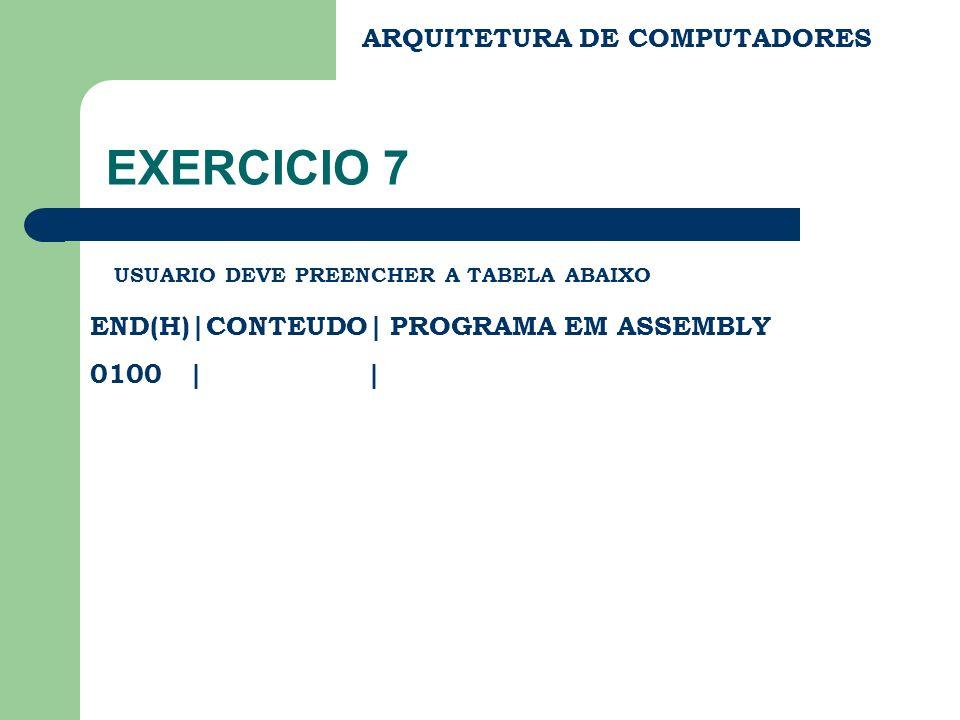 ARQUITETURA DE COMPUTADORES EXERCICIO 7 USUARIO DEVE PREENCHER A TABELA ABAIXO END(H)|CONTEUDO| PROGRAMA EM ASSEMBLY 0100 | |