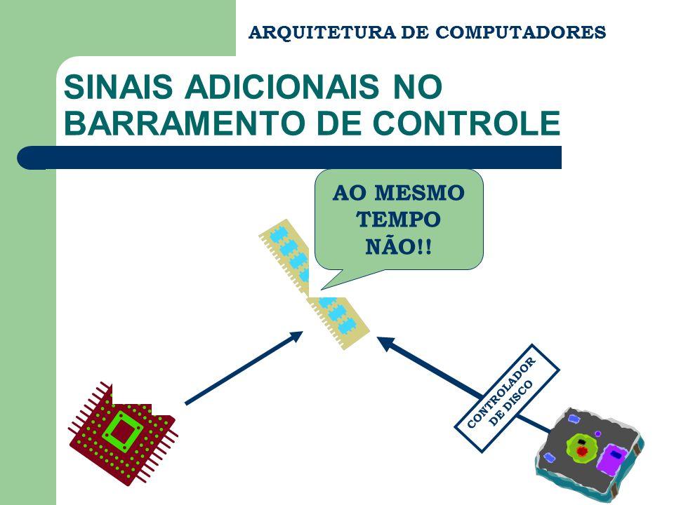 ARQUITETURA DE COMPUTADORES SINAIS ADICIONAIS NO BARRAMENTO DE CONTROLE AO MESMO TEMPO NÃO!! CONTROLADOR DE DISCO