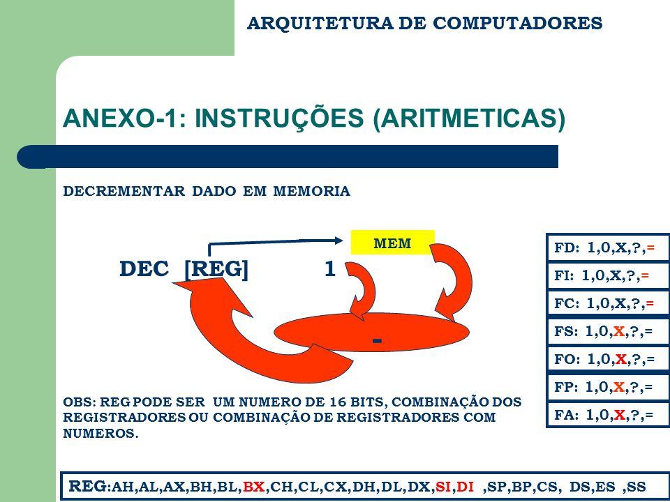 ARQUITETURA DE COMPUTADORES ANEXO-1: INSTRUÇÕES (ARITMETICAS) DECREMENTAR DADO EM MEMORIA DEC [REG] FC: 1,0,X,?,= FS: 1,0,X,?,= FA: 1,0,X,?,= FD: 1,0,X,?,= FI: 1,0,X,?,= REG :AH,AL,AX,BH,BL,BX,CH,CL,CX,DH,DL,DX,SI,DI,SP,BP,CS, DS,ES,SS FP: 1,0,X,?,= FO: 1,0,X,?,= MEM OBS: REG PODE SER UM NUMERO DE 16 BITS, COMBINAÇÃO DOS REGISTRADORES OU COMBINAÇÃO DE REGISTRADORES COM NUMEROS.