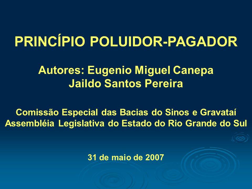 PRINCÍPIO POLUIDOR-PAGADOR Autores: Eugenio Miguel Canepa Jaildo Santos Pereira Comissão Especial das Bacias do Sinos e Gravataí Assembléia Legislativ