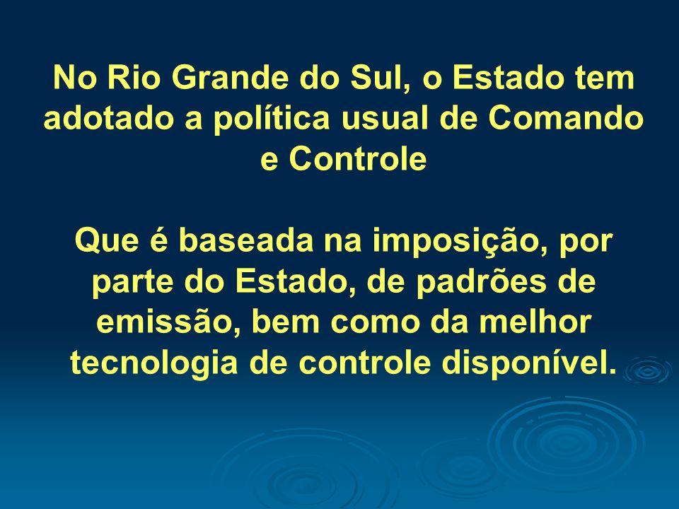 No Rio Grande do Sul, o Estado tem adotado a política usual de Comando e Controle Que é baseada na imposição, por parte do Estado, de padrões de emiss