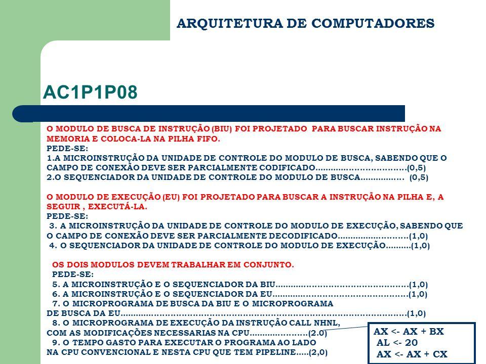 ARQUITETURA DE COMPUTADORES AC1P1P08 O MODULO DE BUSCA DE INSTRUÇÃO (BIU) FOI PROJETADO PARA BUSCAR INSTRUÇÃO NA MEMORIA E COLOCA-LA NA PILHA FIFO. PE