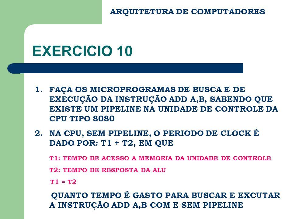 ARQUITETURA DE COMPUTADORES EXERCICIO 10 1.FAÇA OS MICROPROGRAMAS DE BUSCA E DE EXECUÇÃO DA INSTRUÇÃO ADD A,B, SABENDO QUE EXISTE UM PIPELINE NA UNIDA