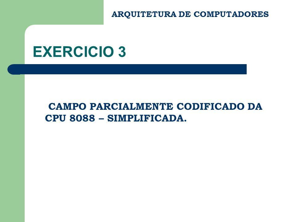 ARQUITETURA DE COMPUTADORES EXERCICIO 3 CAMPO PARCIALMENTE CODIFICADO DA CPU 8088 – SIMPLIFICADA.