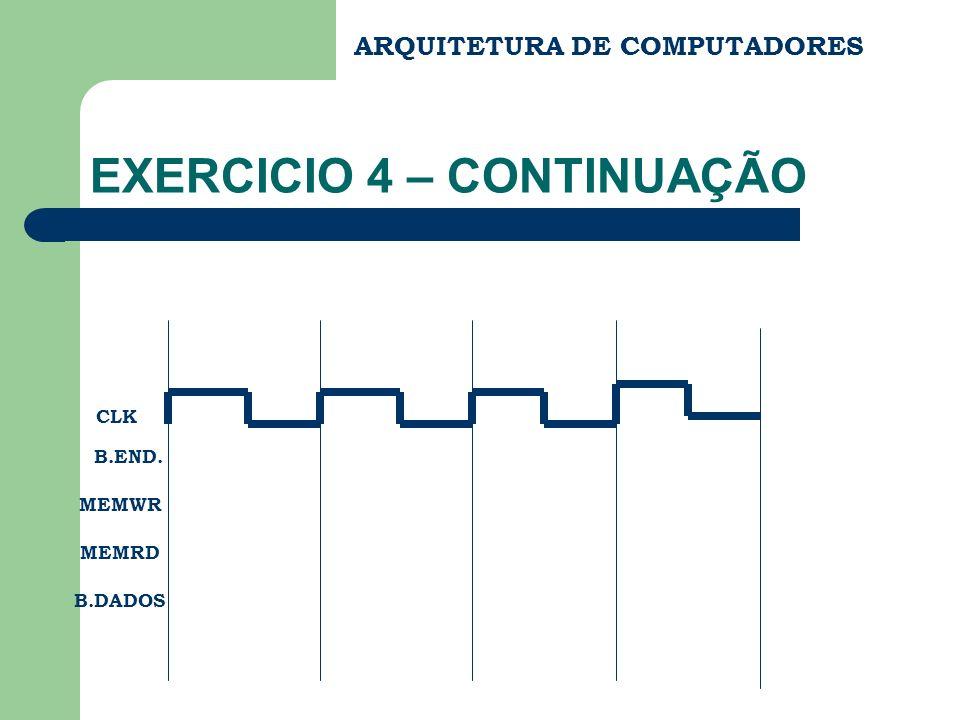 ARQUITETURA DE COMPUTADORES EXERCICIO 4 – CONTINUAÇÃO CLK B.END. MEMWR MEMRD B.DADOS