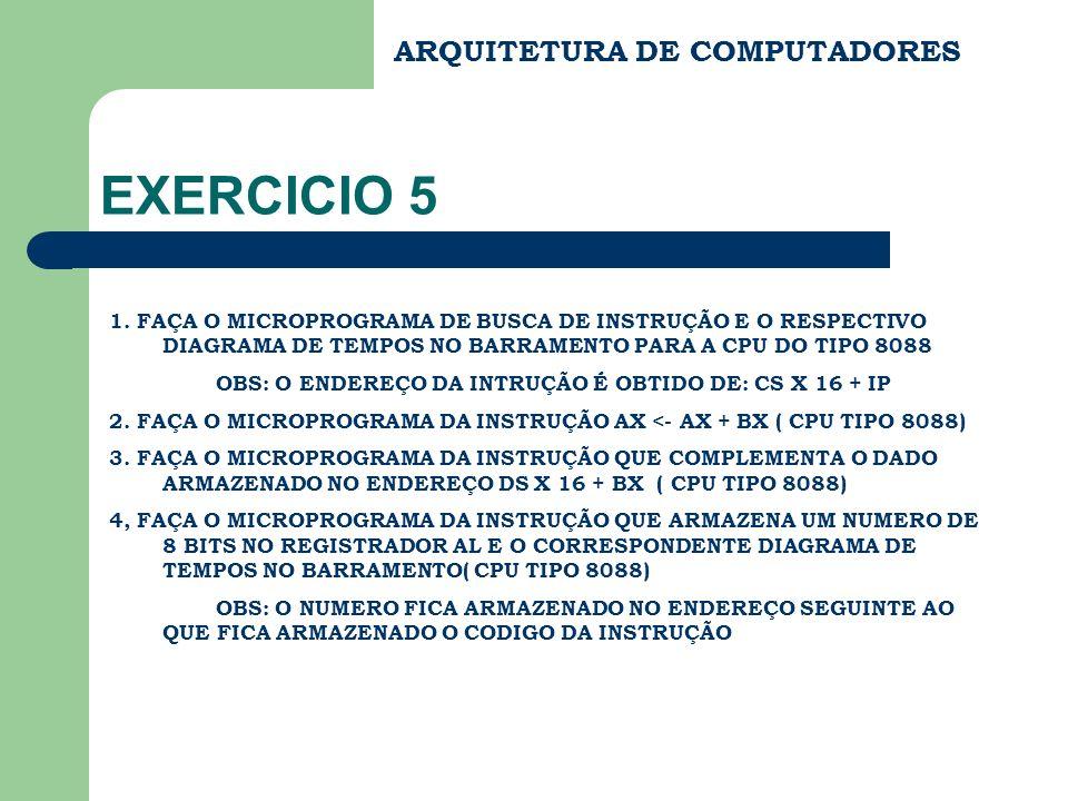 ARQUITETURA DE COMPUTADORES EXERCICIO 5 1. FAÇA O MICROPROGRAMA DE BUSCA DE INSTRUÇÃO E O RESPECTIVO DIAGRAMA DE TEMPOS NO BARRAMENTO PARA A CPU DO TI