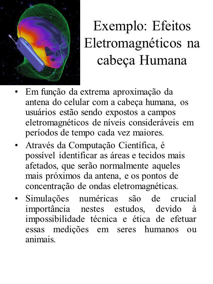 Exemplo: Efeitos Eletromagnéticos na cabeça Humana Em função da extrema aproximação da antena do celular com a cabeça humana, os usuários estão sendo expostos a campos eletromagnéticos de níveis consideráveis em períodos de tempo cada vez maiores.