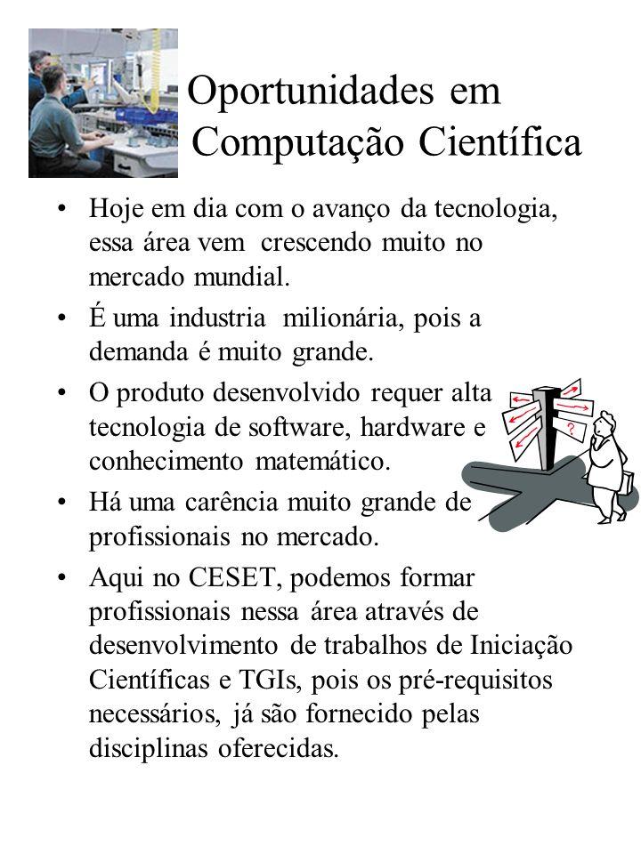 Oportunidades em Computação Científica Hoje em dia com o avanço da tecnologia, essa área vem crescendo muito no mercado mundial.